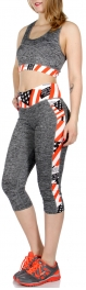 Wholesale A34E USA flag capri activewear set