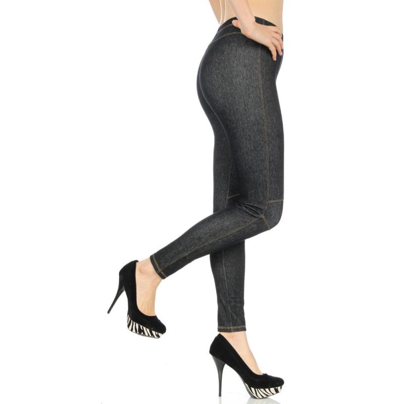 wholesale L20 Contrast Stitching Knee Jegging Black