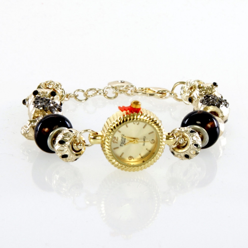 wholesale N37 Ladies beaded watch 005 Gold fashionunic