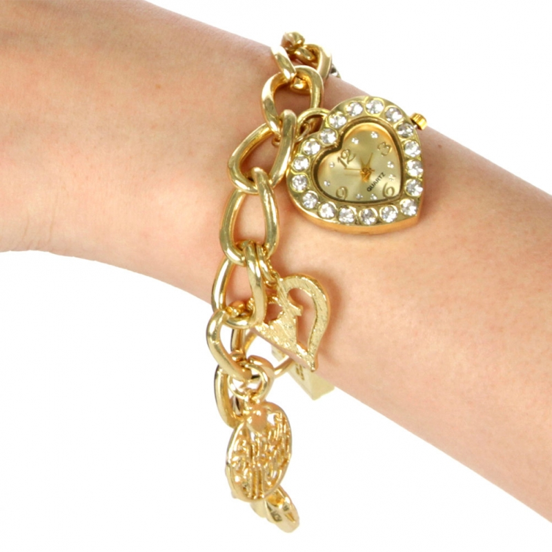 wholesale N37 Christian charm bracelet watch Gold