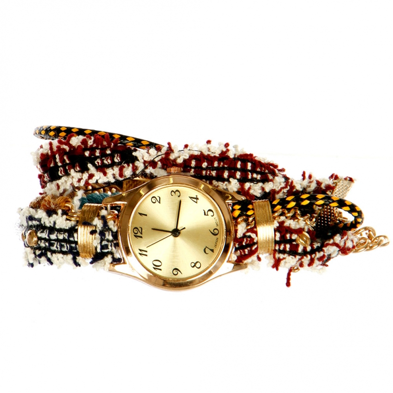 Wholesale N37 Layered cords watch Rose Gold/Wine