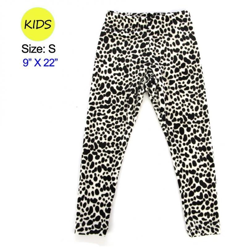 wholesale Q27 BK/WTleopard velour kid's leggings S