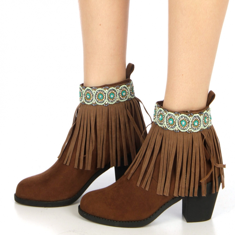 wholesale N46 Indian leather look fringed anklet Brown