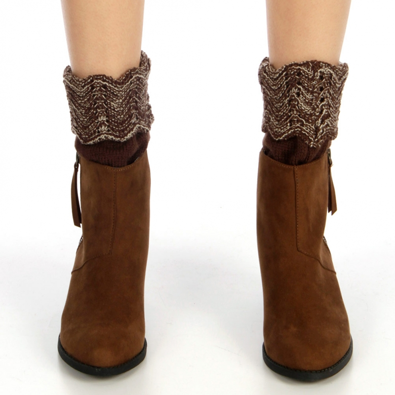 Wholesale BX00 two tone marled knit boot toppers cuff Brown