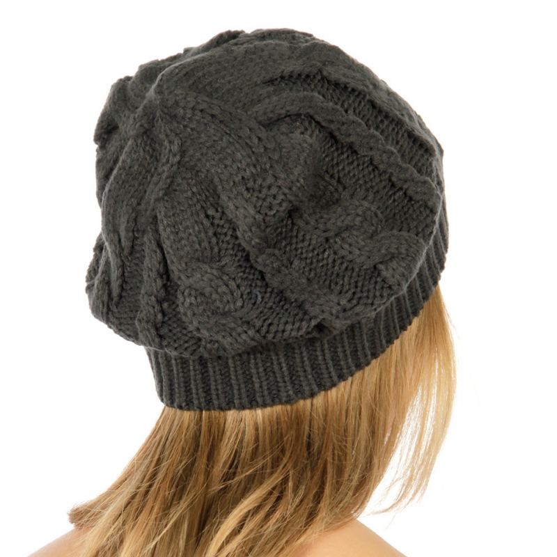 wholesale Solid cable knit ribbed edge hat D.Grey fashionunic