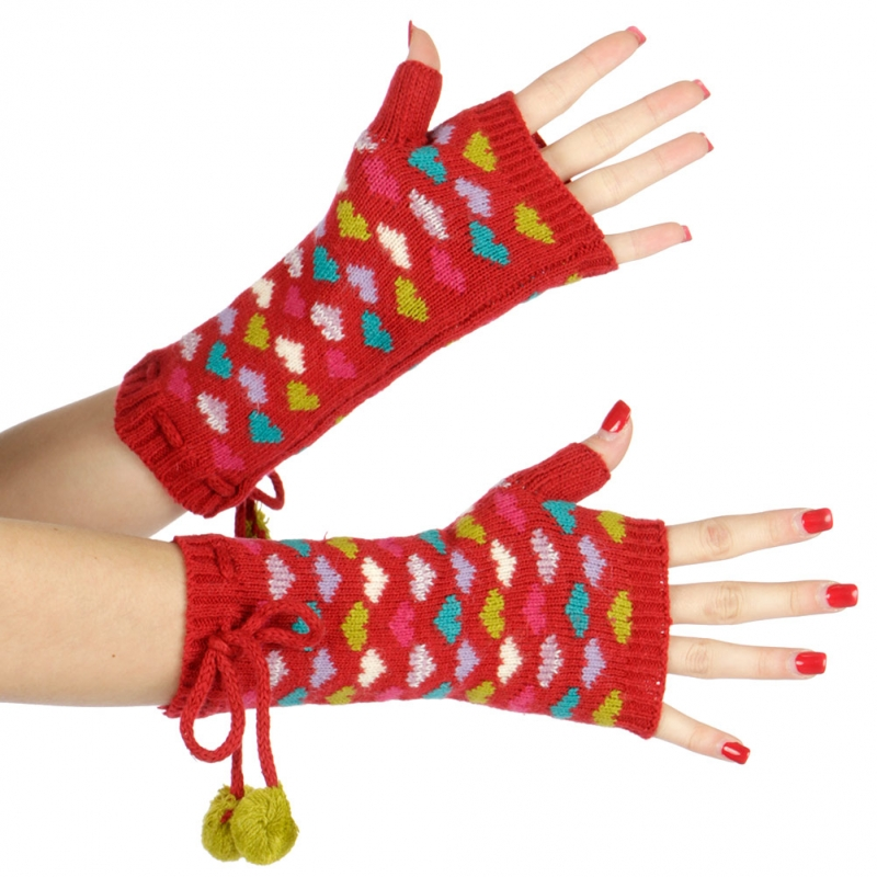 wholesale Multicolored hearts and pompom arm warmer Black