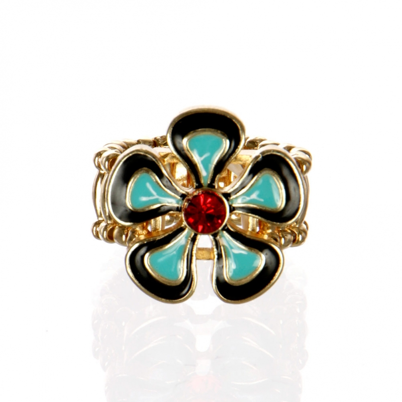 wholesale Flower with stone stretch ring GDBK fashionunic