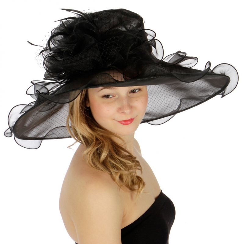 Wholesale BX70 Net covered flower corsage organza dress hat BK