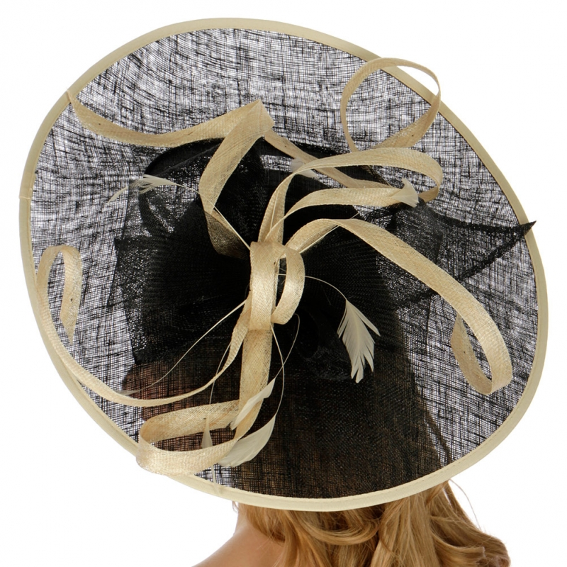 Wholesale BX70 Two tone sinamay fascinator BK/NT