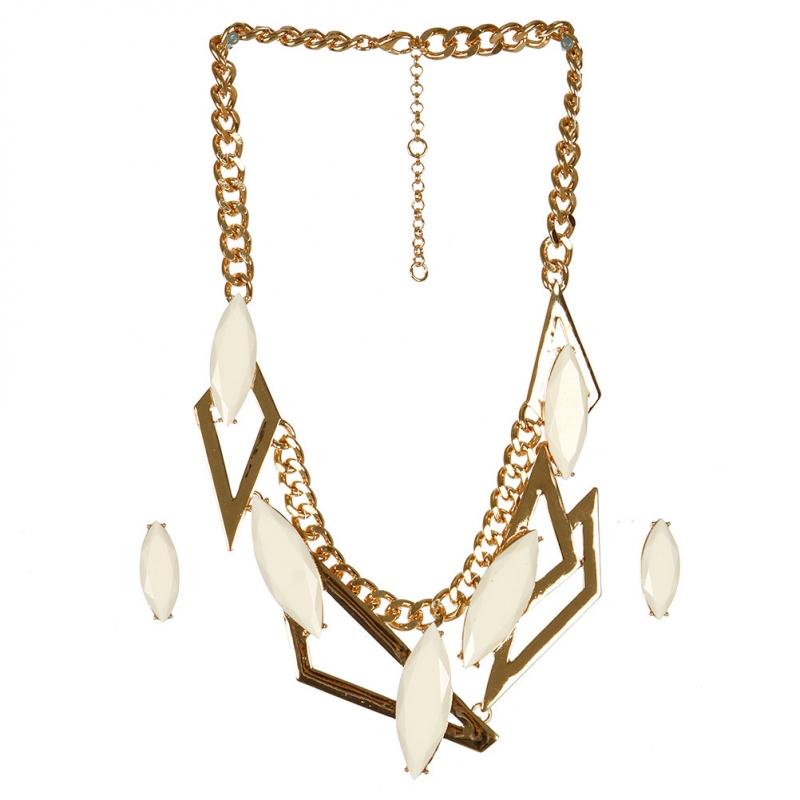 Wholesale L05A Triangle Shape Pendant Chain Necklace/WHITE-GOLD