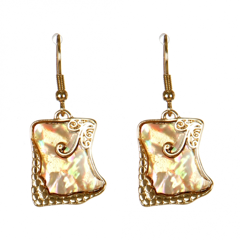 Wholesale M13C Square Abalone Earrings GD