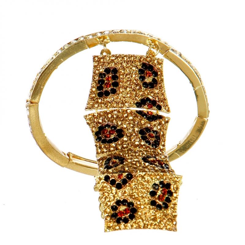 L12 Wholesale Crystal stretch bracelet + Ring Gold Black Brown