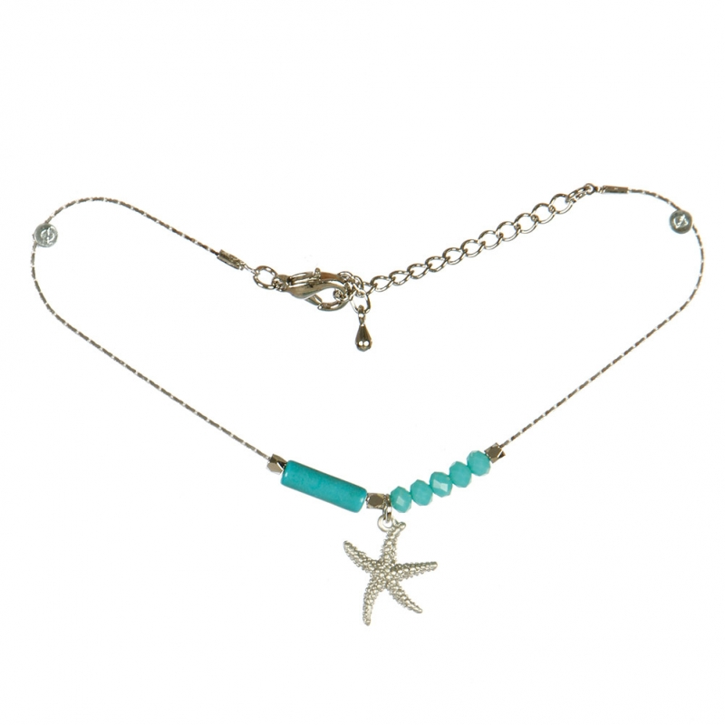 Wholesale L04E Starfish and Beads Anklet SVTQ