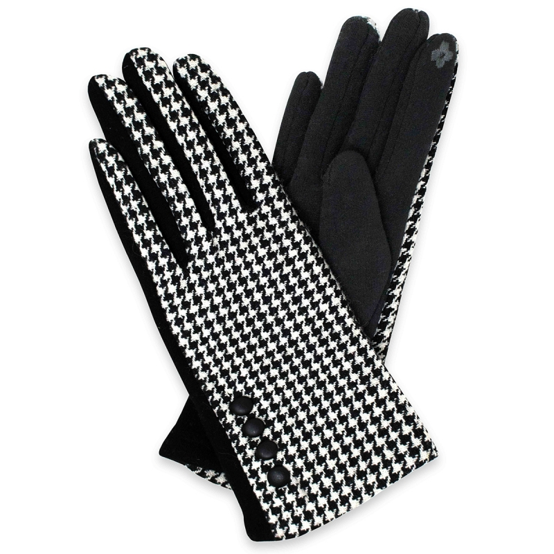 Wholesale T18A Womens Hound Tooth Touch Screen Gloves BK/WH