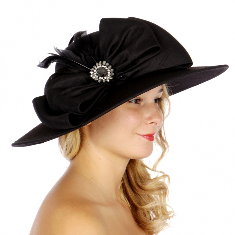 Wholesale V77B Large Bow w/ Feathers Wide Brim Hat BK