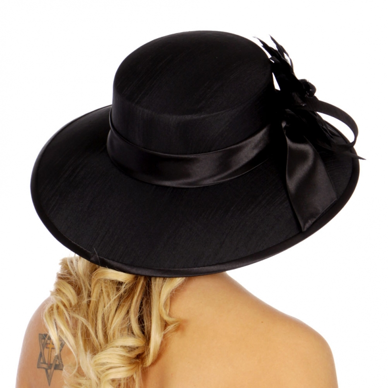 Wholesale V77C Satin Trim w/ Bow Panama Hat BK