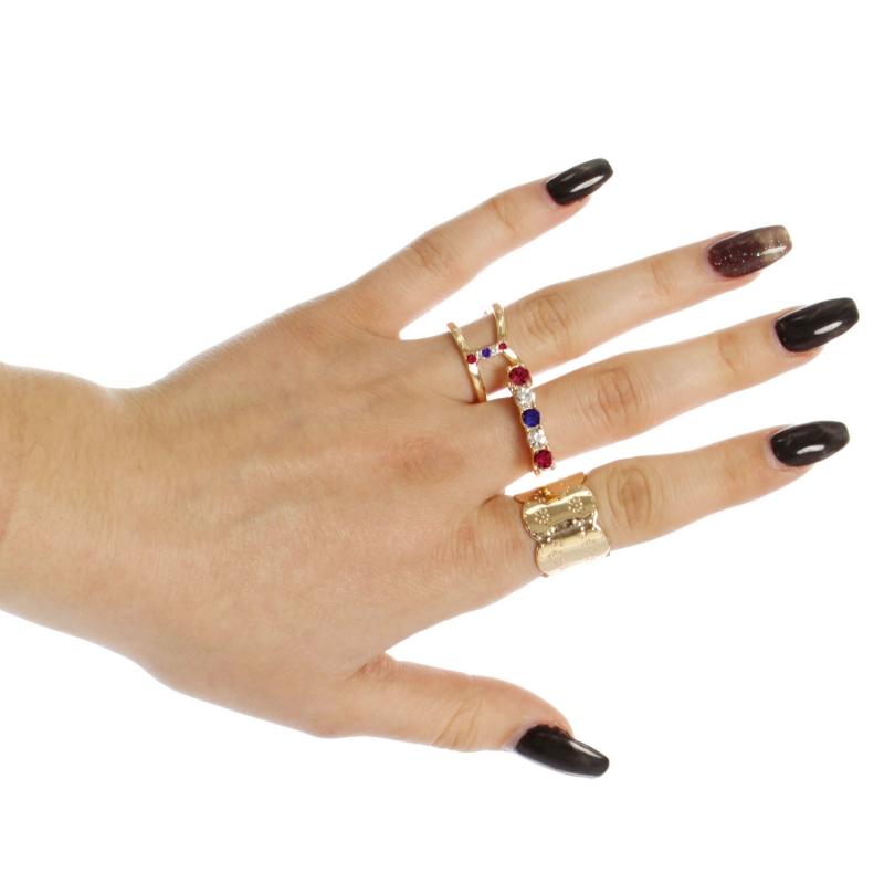Wholesale WA00 Rhinestone studded three rings set GMU