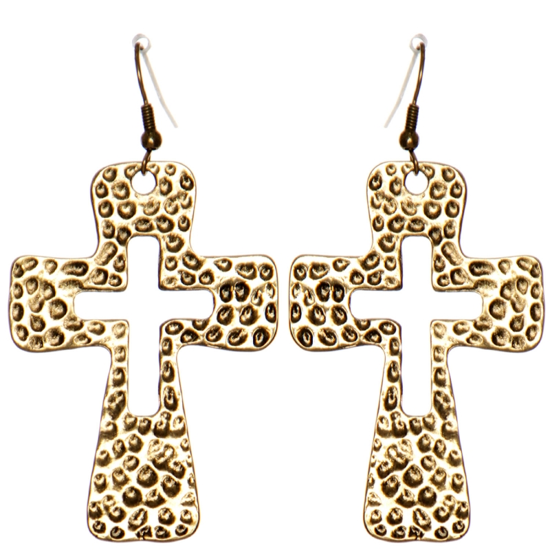Wholesale WA00 Hammering cross cutout earrings RGB