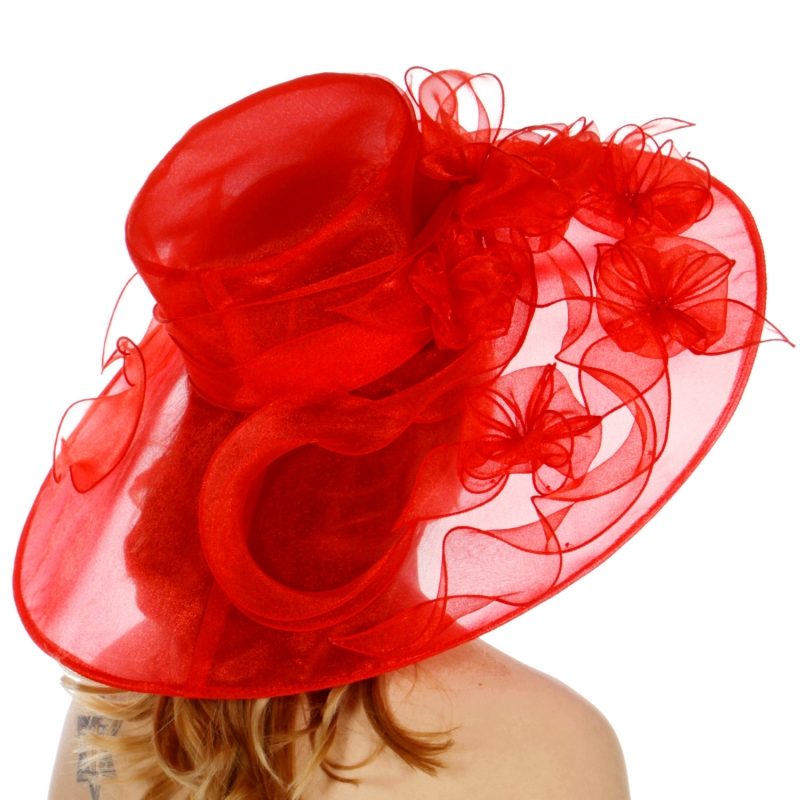 Wholesale TX10 Blossom & ribbon solid organza hat Red