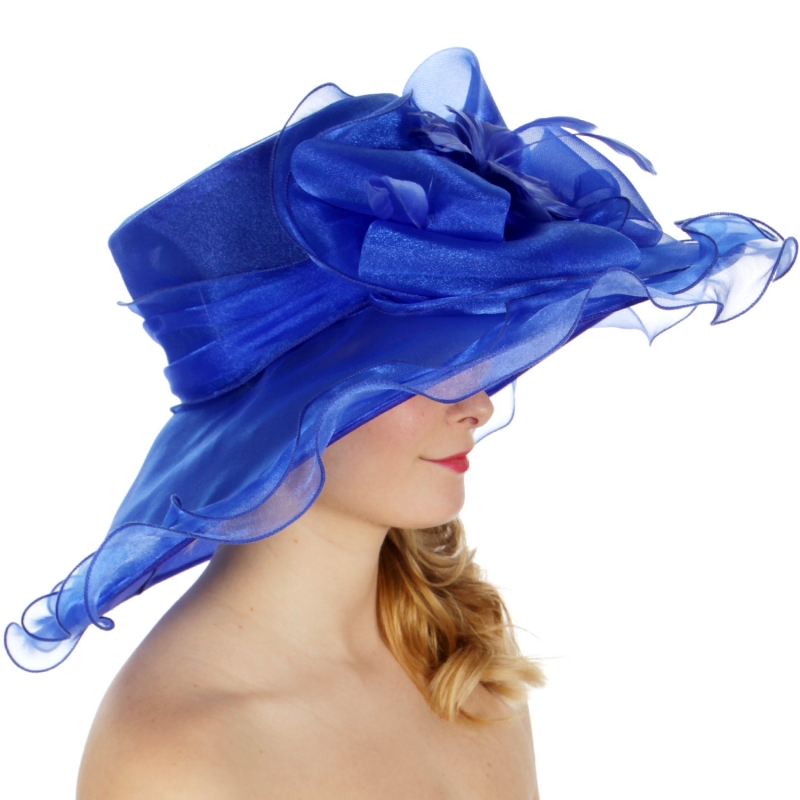 Wholesale BX00 Shiny organza bow flower & feather hat Blue
