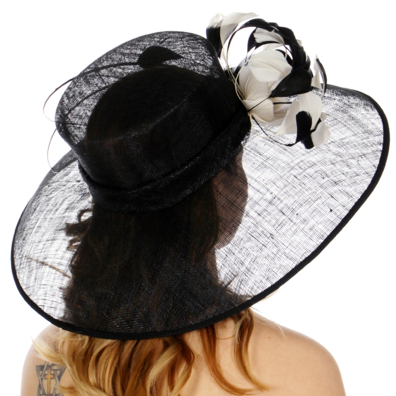 Wholesale TX10 Sinamay down brim quil and feather trim hat black/Champagne