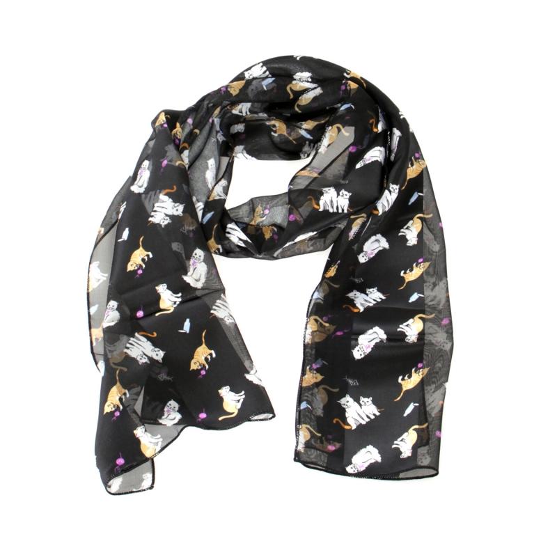 "Wholesale WA00 13""X60"" Playful cats print oblong striped satin scarf BK"