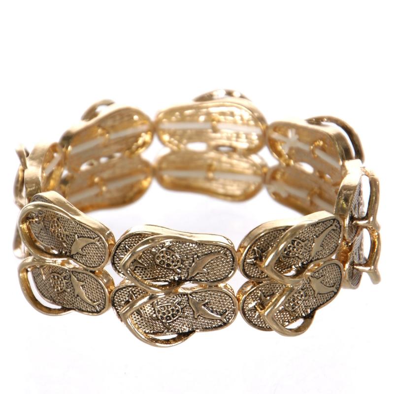 Wholesale WA00 flip-flop pair bracelet GD