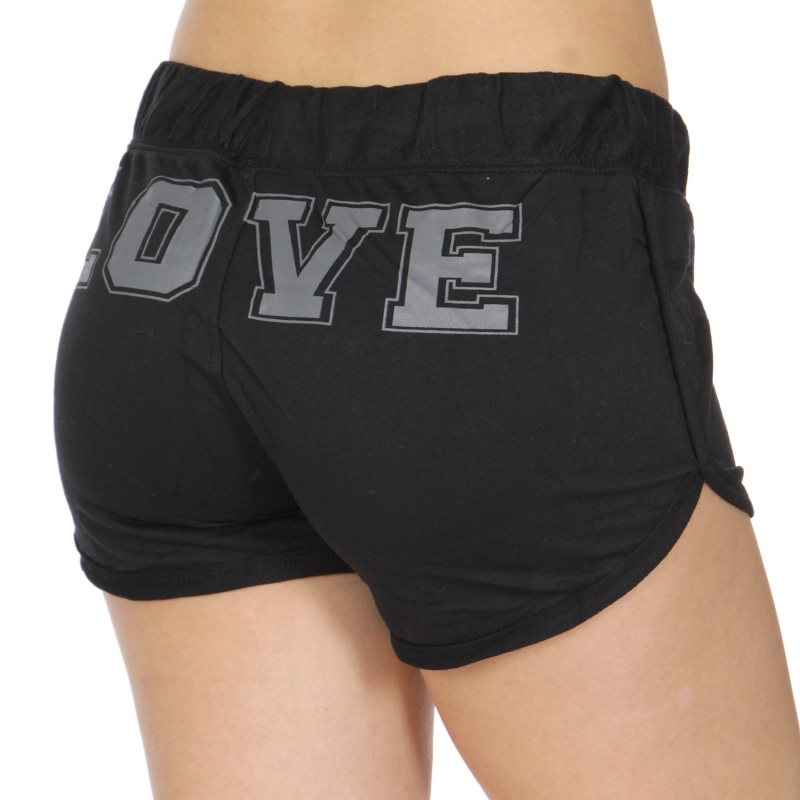 Wholesale R31D LOVE print drawstring french terry shorts Black/Heather Charcoal
