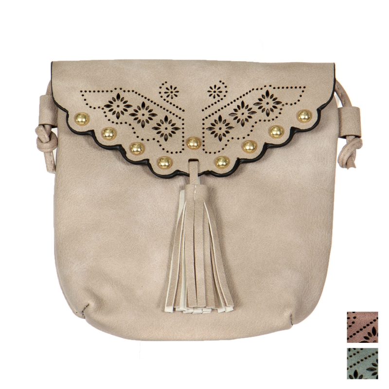 Wholesale N13A Flower perforated faux leather mini crossbody bag
