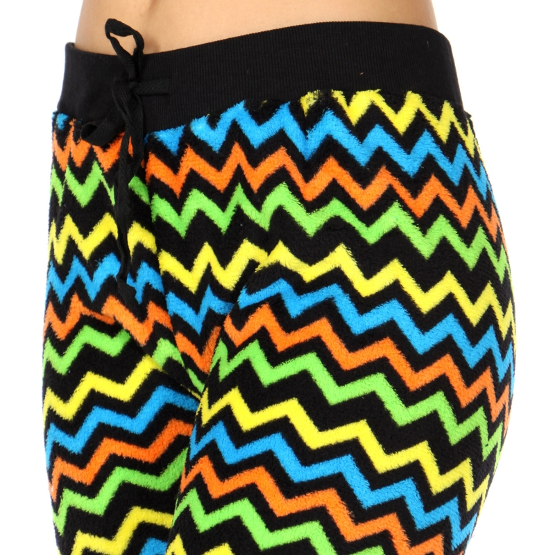 Wholesale K14 Chevron print ladies plush fur jogger pants Black