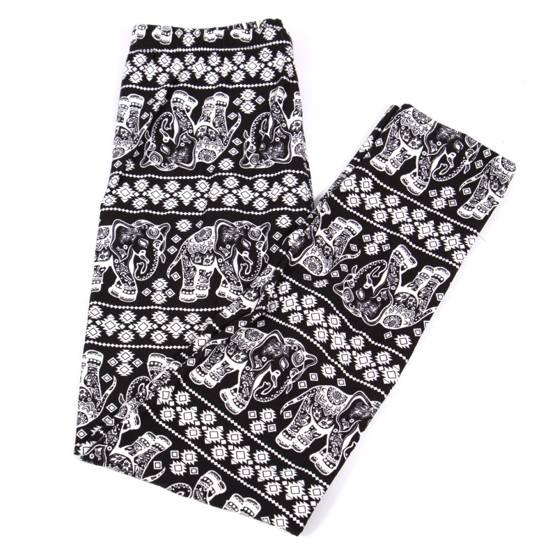 Wholesale B20A Girls print leggings ELEPHANT BLACK