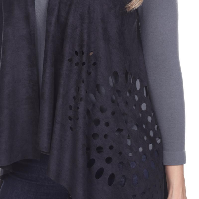 Wholesale H14B Fringe trim faux suede vest BLACK PLUS SIZE