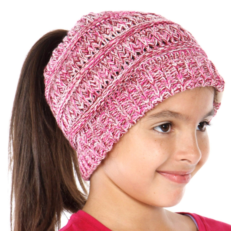 Wholesale R29S C.C Children beanie tail Made in Korea Hot Pink/Burgundy/Pale Pink/White