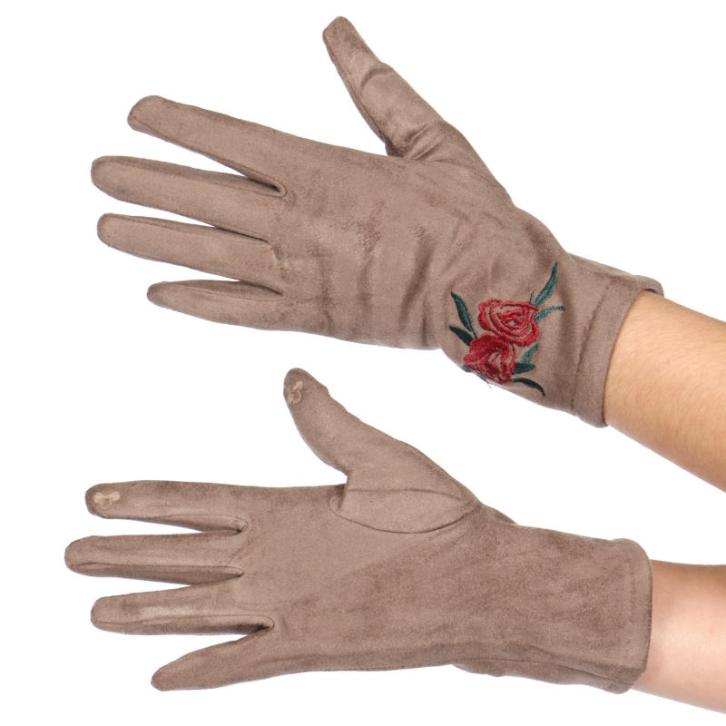 Wholesale Y32B Double rose faux suede touch screen gloves