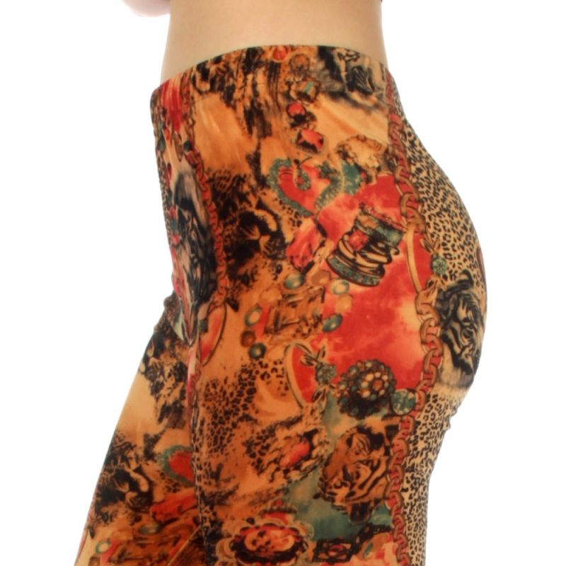 wholesale B07 Tiger/leopard velour leggings S
