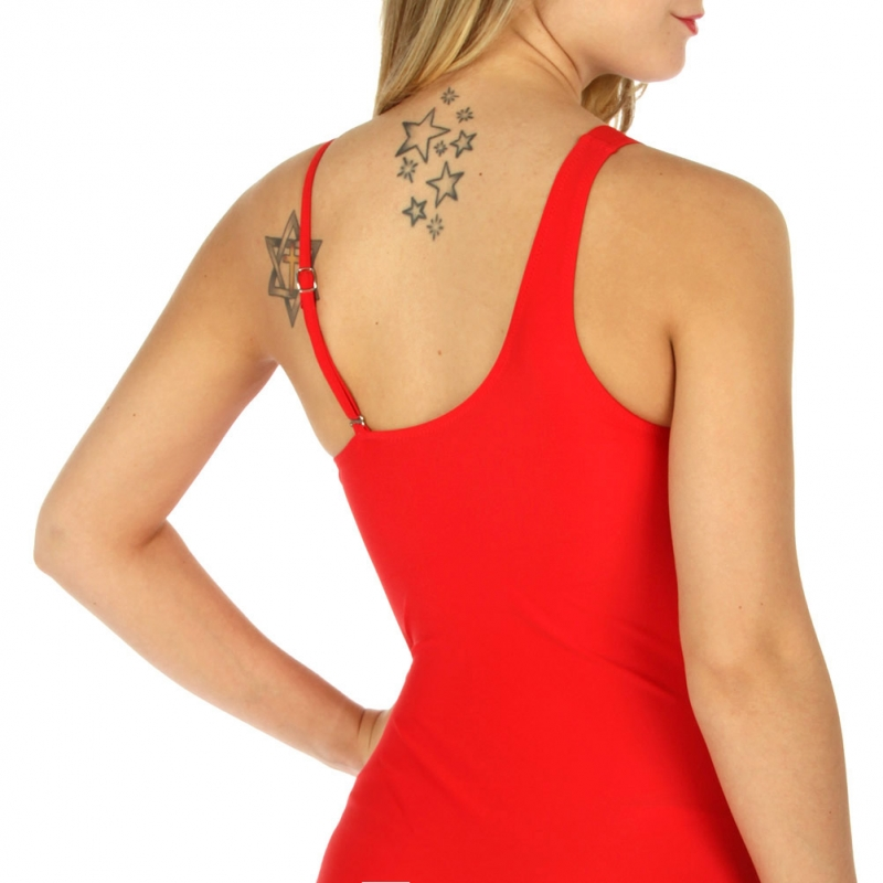 Wholesale K99 One shoulder mesh mix swimsuit Red