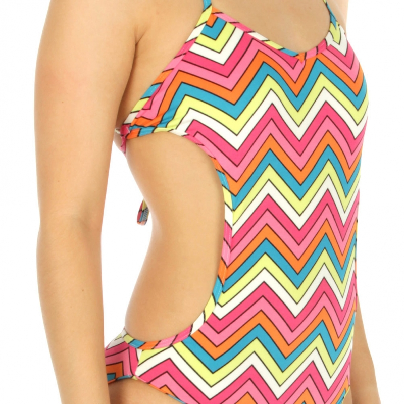 wholesale K98 Chevron monokini swimsuit Yellow/Pink