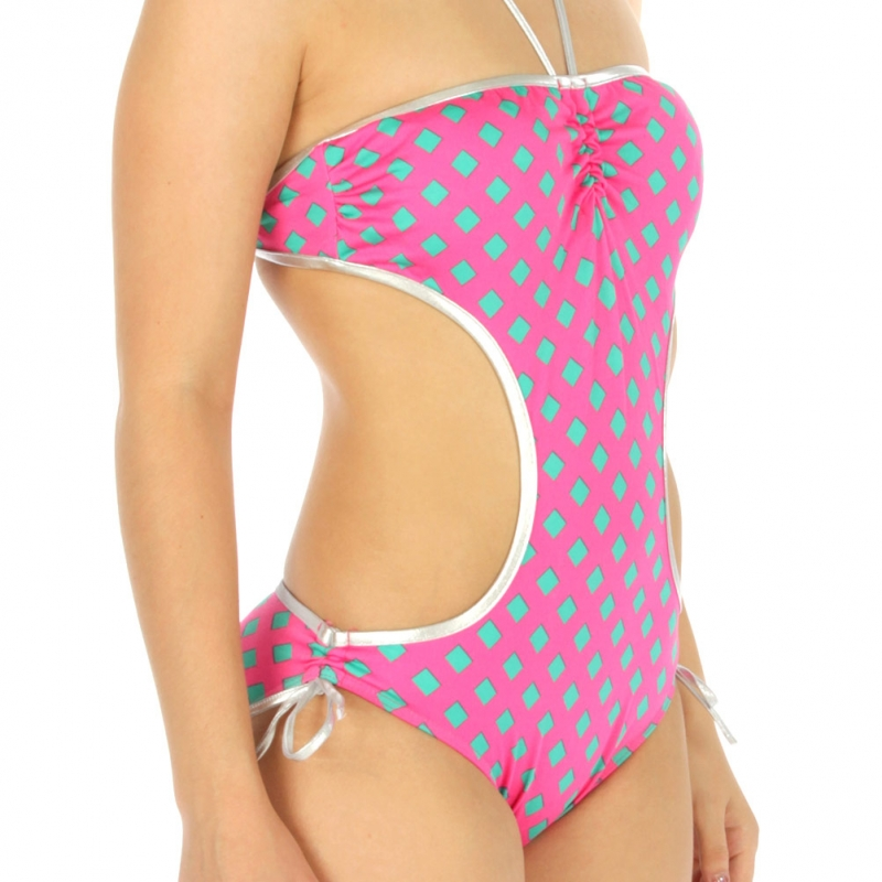 wholesale K97 Metallic halter top monokini PK/GN