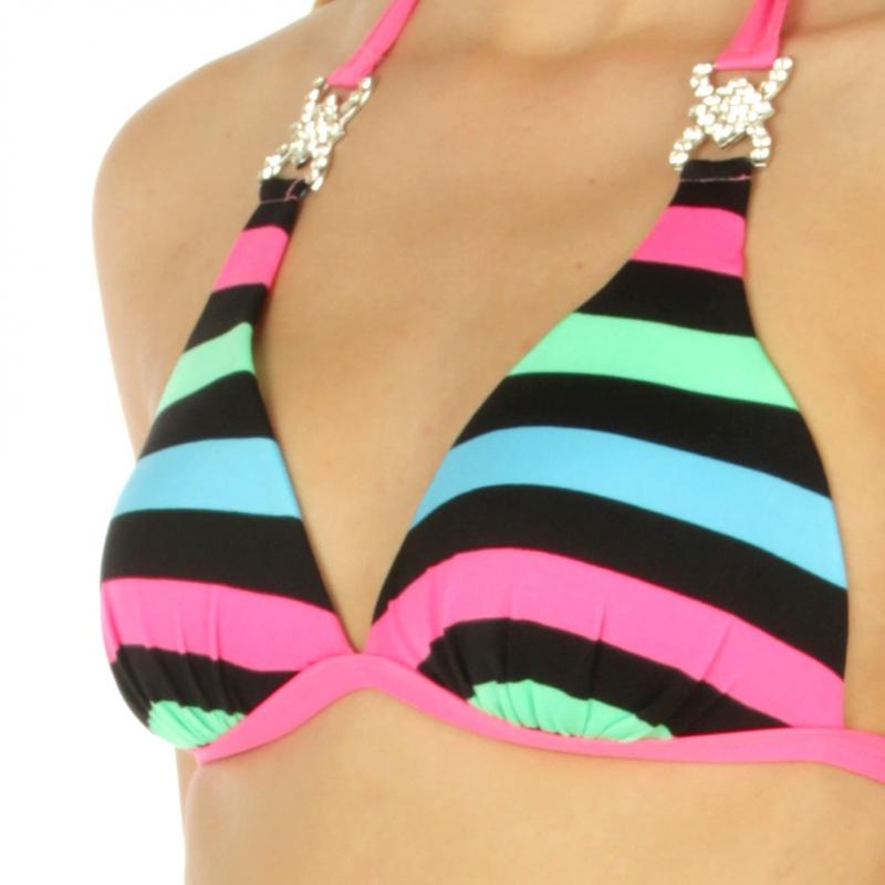 Wholesale K94 Embellished striped halter bikini MN/PK