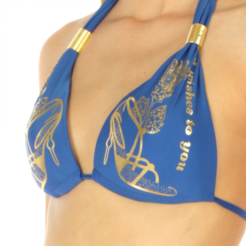 Wholesale K79 Metallic heel print halter bikini R.Blue