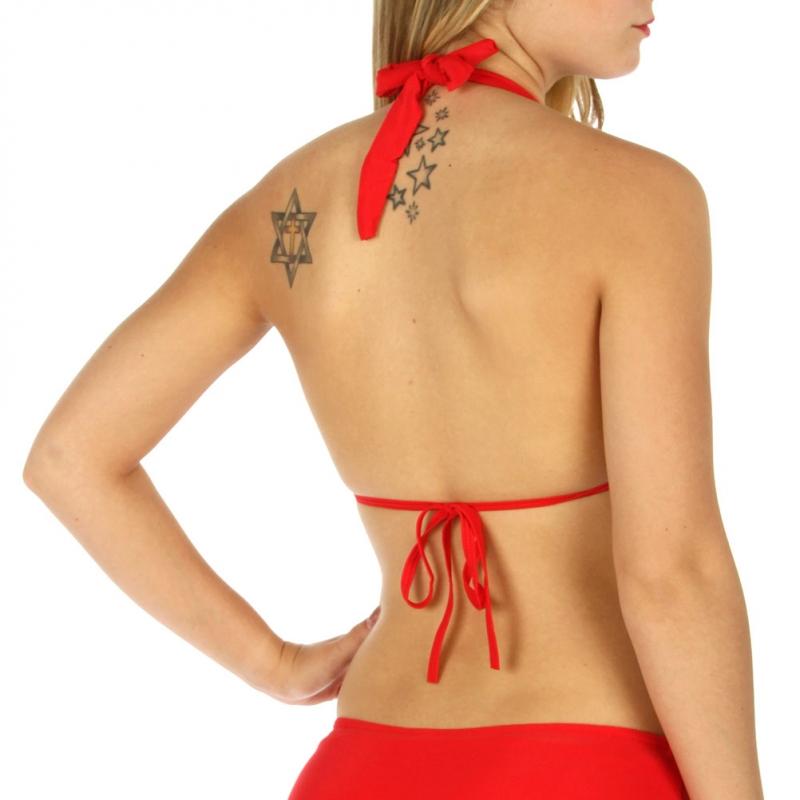 Wholesale K79 Metallic heel print halter bikini Red