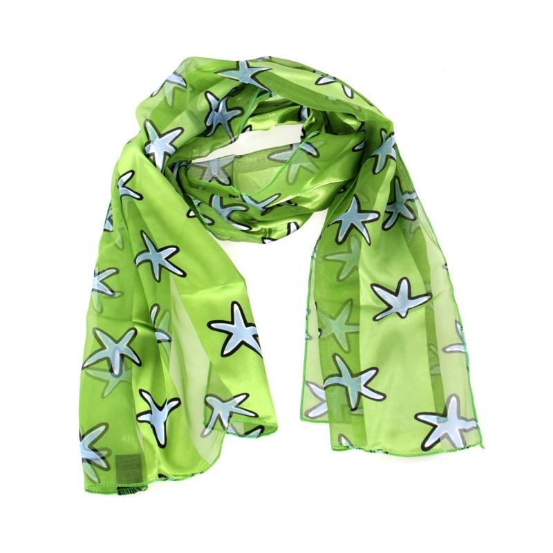"Wholesale WA00 13""X60"" Starfish print oblong striped satin scarf LM"