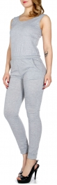 Wholesale Q13-1 Sleeveless simple jumpsuit w/ pockets Grey