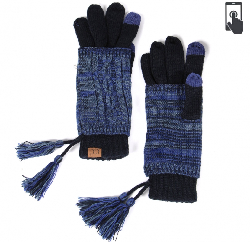 Wholesale T12B C.C Double layer knit glove with tassel Taupe