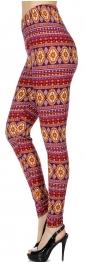 Wholesale F13B Mongolian horizontal print softbrush leggings PLUS SIZE