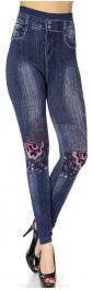Wholesale F09 Floral knee patch denim print leggings