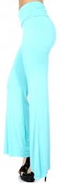 Wholesale P28-1 Solid flare palazzo pants Aqua