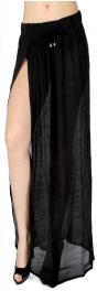Wholesale R56B Deep side slit sheer maxi skirt Black