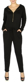Wholesale S83D Zippered jumpsuit w/ hood Black