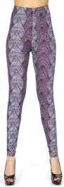 Wholesale Q56C Leopard & geometric print softbrush leggings